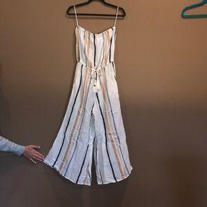 NWT. Striped linen jumpsuit.